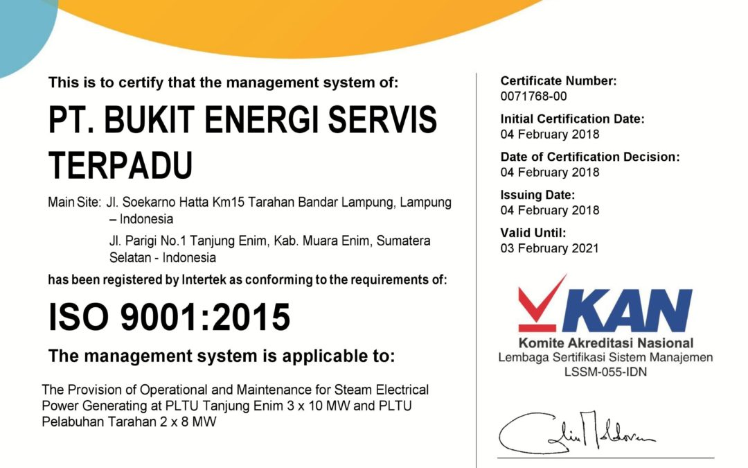 ISO 9001 Certificate; 2015