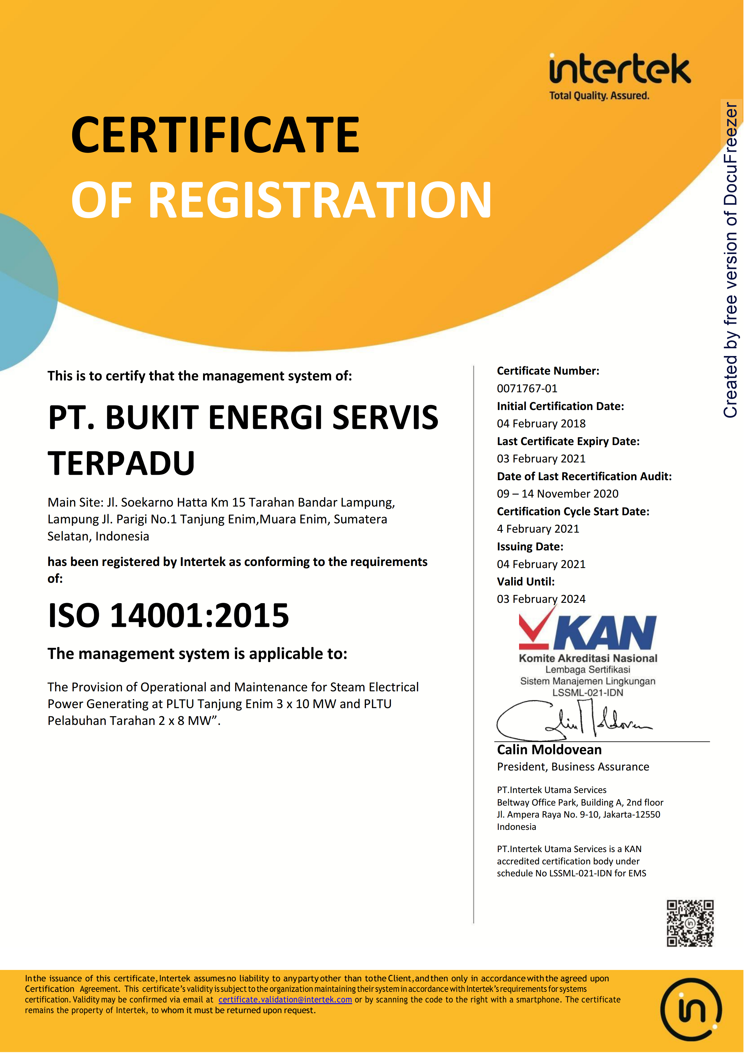 ISO 14001 Certificate;2015